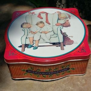 Norman Rockwell holiday tin 1995